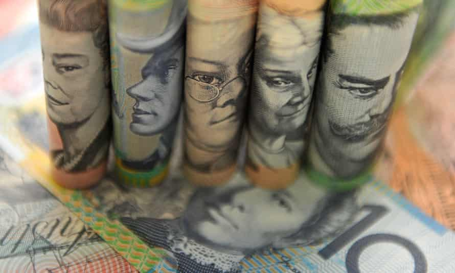 Australian currency pictured in Sydney, Sept. 11, 2014.