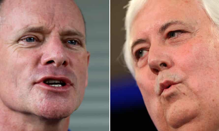 Campbell Newman and (R) Clive Palmer