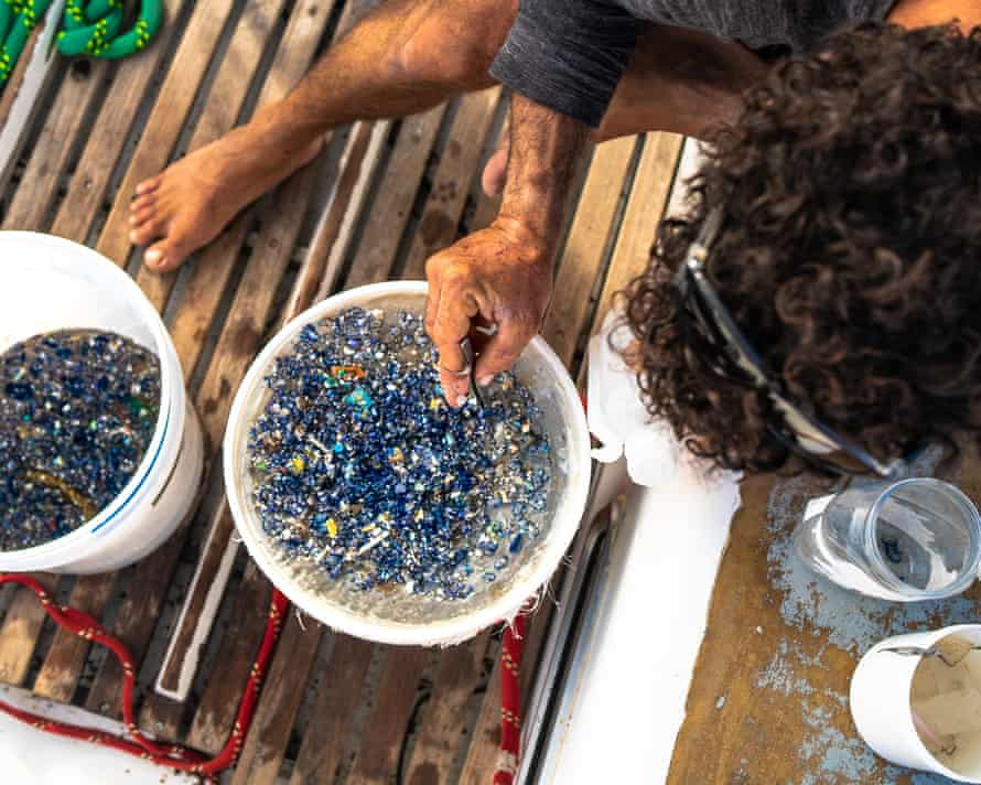 The crew often finds thousands of pieces of plastic daily in the water samples.