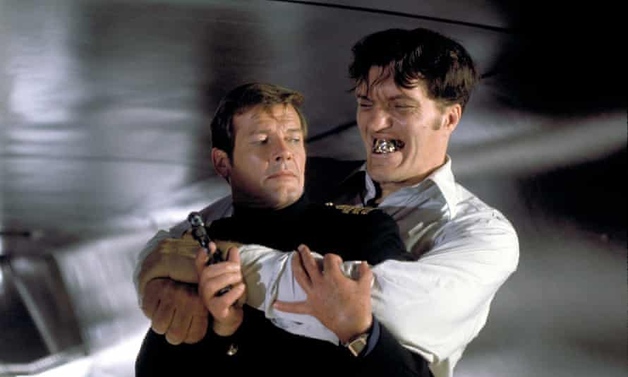 Escape artist ... Roger Moore with Richard Kiel in The Spy Who Loved Me (1977).
