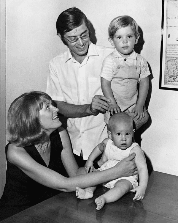 Happy families: Anne Theroux with Paul and their sons Marcel and a recently born Louis, Singapore, 1970.