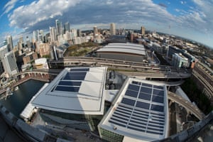 Sydney Renewable Power Company's 520kW solar installation on top of the new International Convention Centre in Darling Harbour