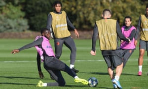 Fikayo Tomori challenges for the ball during training before Chelsea's Champions League game against Ajax.