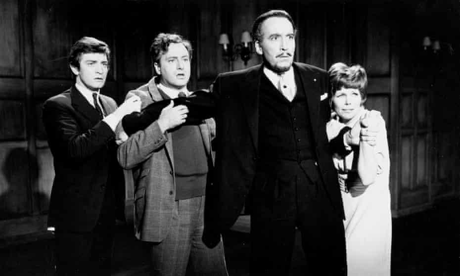 Patrick Mower, Paul Eddington, Christopher Lee and Sarah Lawson in The Devil Rides Out. Photograph: Ronald Grant Archive
