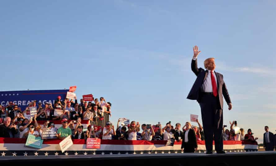 President Donald Trump holds a re-election rally in Londonderry, New Hampshire.