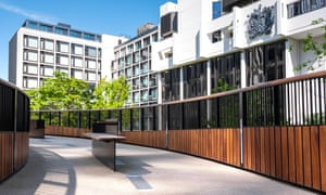 The newly reinstated and refubished St Alphege High Walk on London wall providing a raise pedestrian walkway and access to the Barbican estate