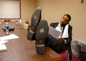 Barack does press interviews by phone between events. When he sees Shell photographing his shoes, he says he has already had them resoled once since he entered the race