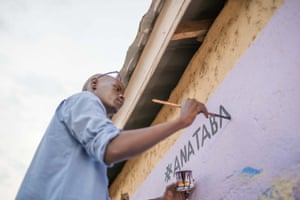 Artist expressing frustration with civil war through art