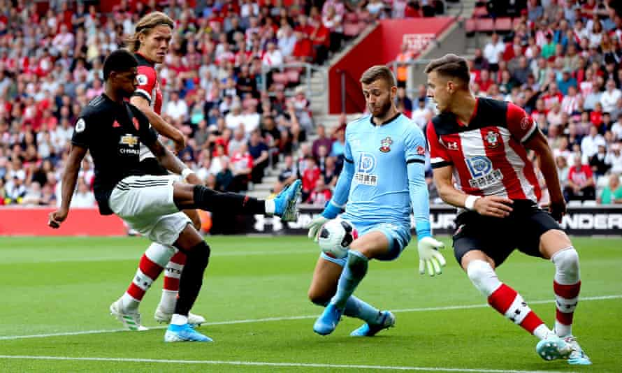 Marcus Rashford has a shot saved by Southampton's goalkeeper Angus Gunn during Manchester United's 1-1 draw at St Mary's on Saturday.