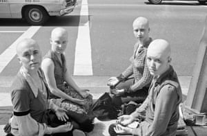 Members of the 'family' maintained a sidewalk vigil during Manson's trial in 1971, their shaved heads and crosses on their foreheads