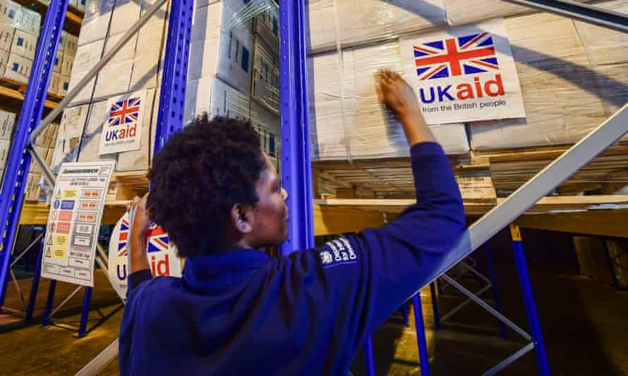UK Aid stickers on cargo pallets