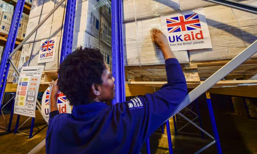 Cargo pallets containing British aid items at the UK Disaster Response Operations Centre, Cotswold airport, Kemble.
