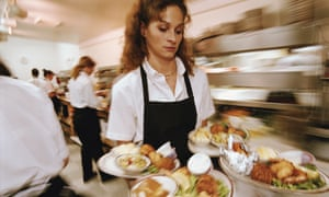 Waitress Carrying Plates of Food
