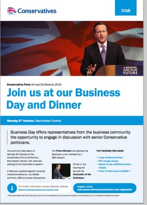 The Conservative leaflet inviting people to the 'business day'.