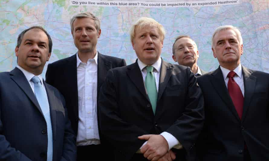 Boris Johnson (centre) outside parliament on Wednesday, flanked by other MPs opposed to Heathrow expansion