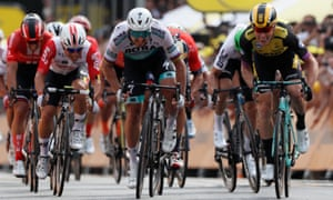 Team Jumbo-Visma rider Mike Teunissen, right, sprints to the line ahead of Peter Sagan.