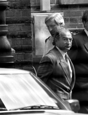 Foreman leaving Bow Street magistrates' court after being charged with involvement in the 1983 £6m Security Express robbery.