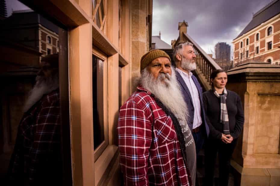 Ngarrindjeri man Major Sumner (Moogy), head of humanities at the South Australian Museum, John Carty, and Anna Russo, the Aboriginal heritage manager at the South Australian Museum.