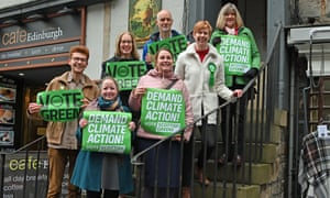 Scottish Green Party co-leader Lorna Slater (back row, centre), Scottish parliamentary group co-leader Alison Johnstone (right), with the party's general election candidates for the Edinburgh constituencies.