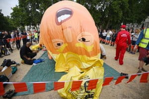 The Trump Baby blimp is inflated in London's Parliament Square
