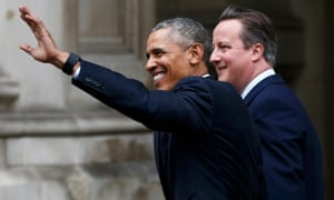 Triumphant glow? David Cameron and Barack Obama leave Downing Street as they walk to a joint press conference at the Foreign and Commonwealth Office