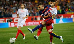 Jordi Alba sneaks in behind the Sevilla defence to give Barcelona the lead.