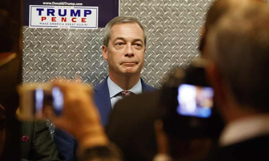 Nigel Farage gets on an elevator.