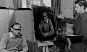 Michael Noakes painting the TV presenter Cliff Michelmore in 1957.