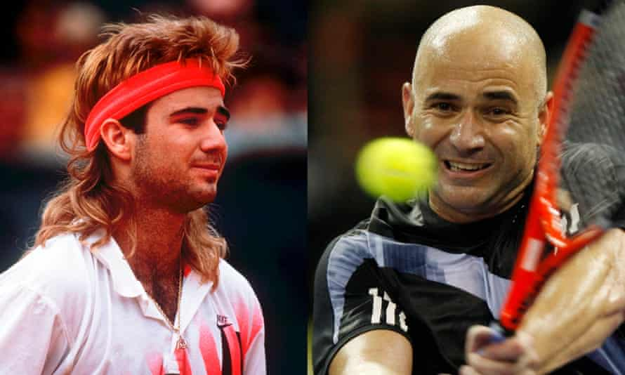Andre Agassi in 1990 and 2009.