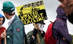 Protesters at a demonstration at Little Plumpton, near the Fylde coast, where Cuadrilla is drilling for shale gas.