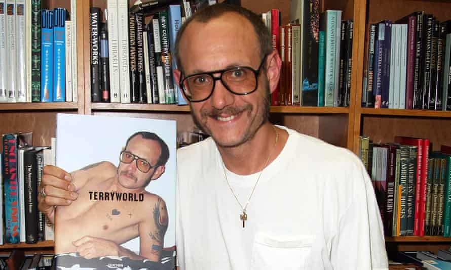 Terry Richardson with a copy of his book, 'TerryWorld'.