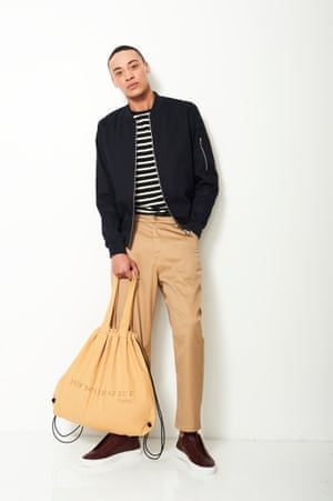 RETRO REFERENCE Channel James Dean with a dash of 50s style Bomber £30, asos.com Trousers £190, liberty london.com Bag £9.99, zara.com Trainers £165, axelarigato.com T-shirt as before