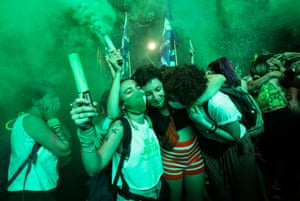 Campaigners in favour of legalising abortion in Argentina celebrate after the parliament in Buenos Aires approved the new abortion law.