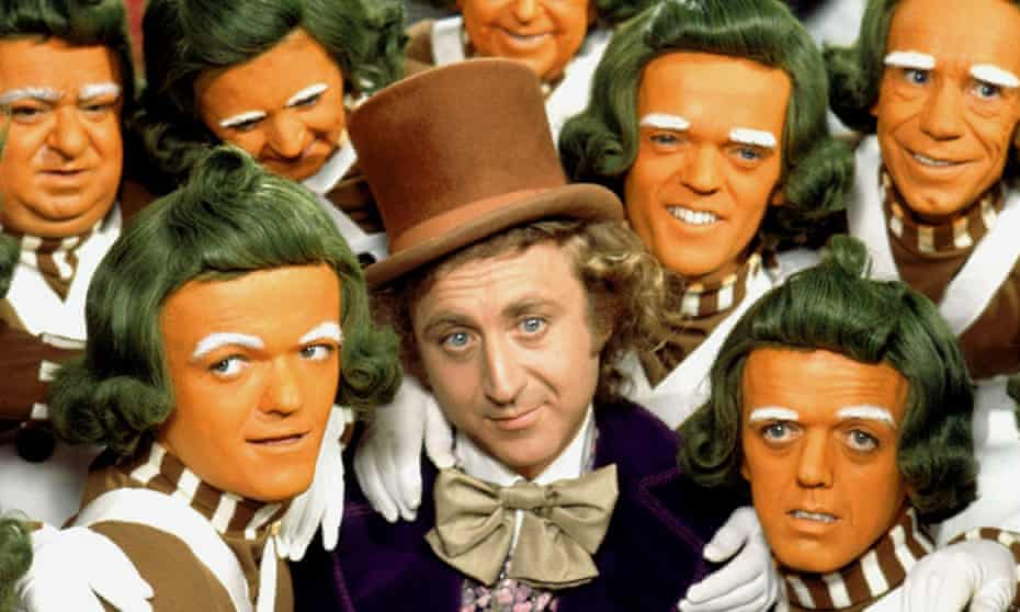 A charmingly inconsistent sociopath ... Gene Wilder with the Oompa Loompas in Willy Wonka and the Chocolate Factory.