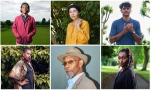 Clockwise from top left: Kayo Chingonyi, Grace Nichols, Raymond Antrobus, Malika Booker, Linton Kwesi Johnson, Vanessa Kisuule.