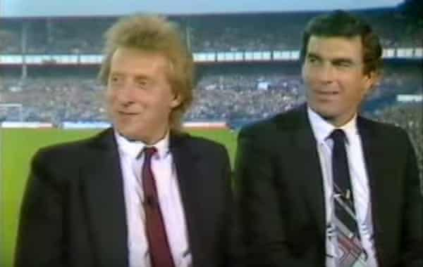 Pundits Denis Law (left) and Trevor Brooking at Goodison Park.