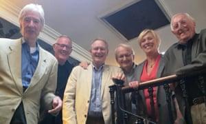 Post-lunch smiles: From the left, Roddy Gilchrist, Ken Chandler, Roy Greenslade, John Fryer, Jill Palmer and Trevor Bond.