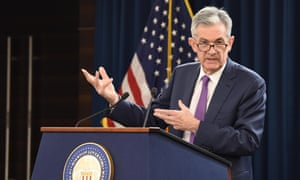 US Federal Reserve chairman Jerome Powell holds a press conference after the central bank raised interest rates for the third time this year