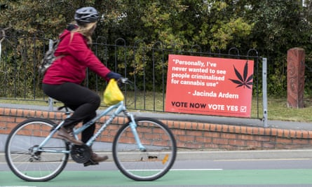 A placard urging New Zealanders to vote for the legalisation of cannabis in the 17 October referendum. The results will be released on Friday.