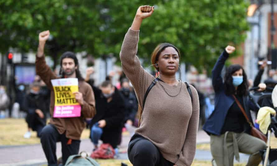 Black Lives Matter protesters in Windrush Square, Brixton, London, 10 June.