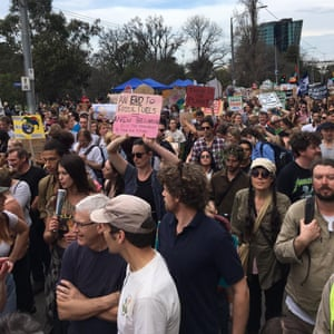 people protesting in melbourne during global climate strike