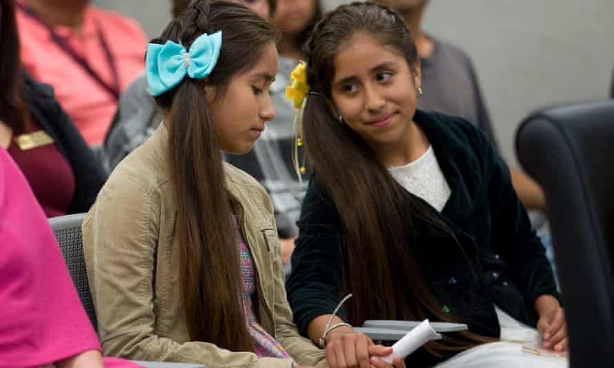 12-year-old twins  Yarely and Aracely Duarte at a National City city council meeting where they shared the story of being separated from their parents