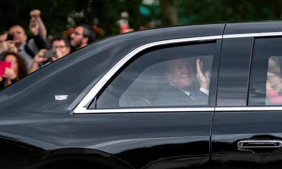 Donald Trump in a limousine