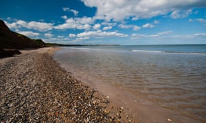 Beach and coastline at Hunmanby Gap near Filey in the Yorkshire coast.