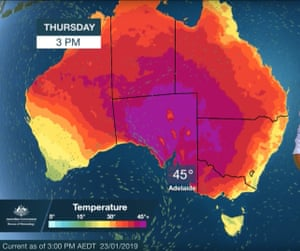 The extreme heatwave forecast map for Thursday. Adelaide's all-time temperature record has been broken as hot weather sweeps across South Australia, Victoria, Tasmania and NSW.