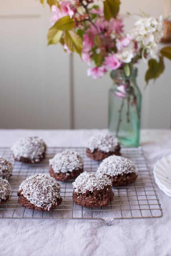 Chewy chocolate coconut macaroons.