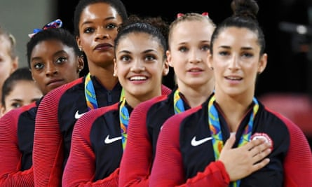 Gabby Douglas (second left) attracted criticism after the medal ceremony