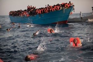 Migrants during a rescue in the Mediterranean off Libya in August.