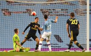 Foden scores City's third goal.