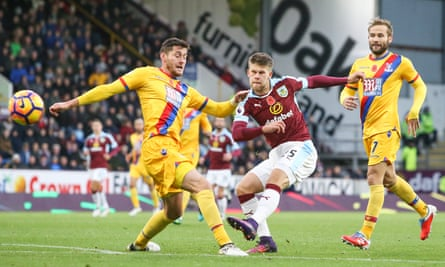 Johann Gudmundsson, Burnley's most impressive performer, gets in a shot during his side's 3-2 home win over Crystal Palace.